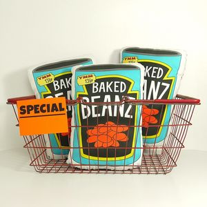 Novelty Baked Beans Cushion - bedroom