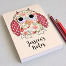 Personalised Owl Embroidered Notepad
