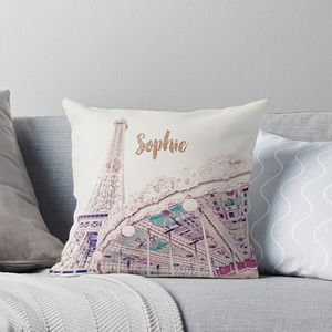 Personalised Paris Carousel Cushion With Rose Gold - top picks