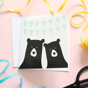 Bunting Wedding Day, Bear Card