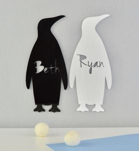 Personalised Monochrome Nursery Sign Penguin Acrylic
