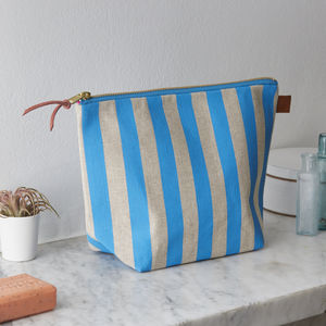 Deckchair Blue Striped Linen Wash Bag - make-up bags
