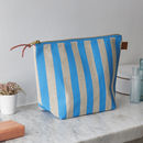Deckchair Blue Striped Linen Wash Bag