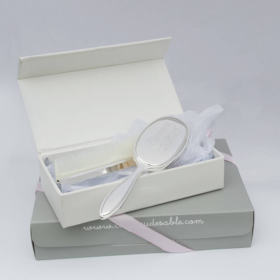Personalised Silver Plated Baby Brush And Comb Gift By