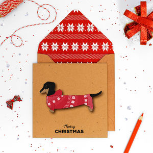 Christmas Personalised Jumper Dachshund Card Or Pack - christmas card packs