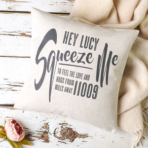 'Squeeze Me' Love And Hugs Personalised Cushion Cover