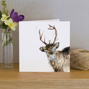 Inky Reindeer Blank Greetings Card