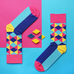 Geometric Socks Inspired By David Hockney - underwear & socks
