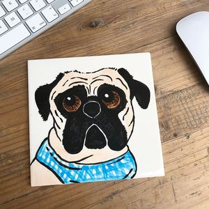 Pet Portrait Dog/Cat Ceramic Tile - paintings