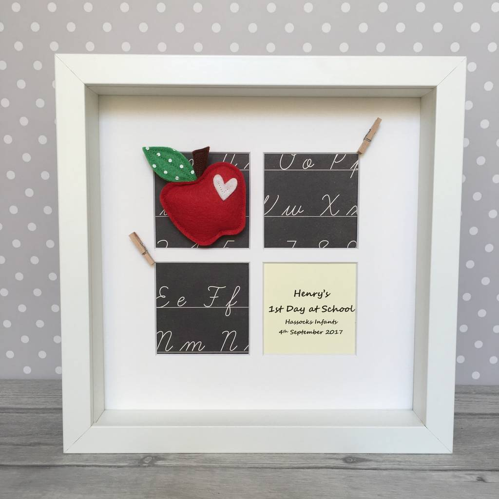 personalised blackboard first day at school photo frame by alphabet ...