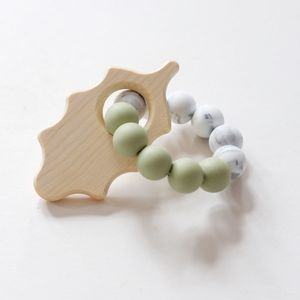 Oak Leaf Beaded Rattle Toy - gifts for babies