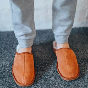 Mens Chestnut Loafer Sheepskin Slippers - slippers