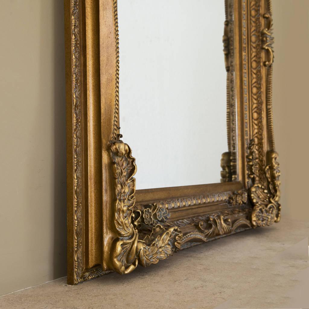 Silver ornate framed mirror