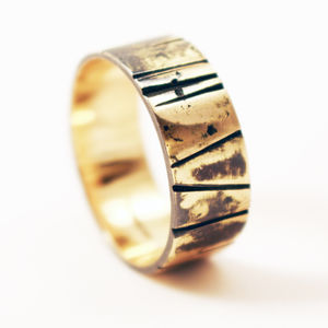 Scottish Recycled Gold Hand Cut Oxidised 8mm Ring - rings