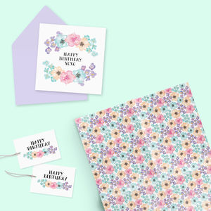Gift Wrap, Tags And Card Set : Flora