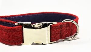 Harris Tweed Dog Collar - walking