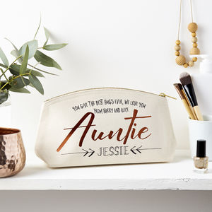 Personalised Auntie Metallic Make Up Pouch - make-up & wash bags