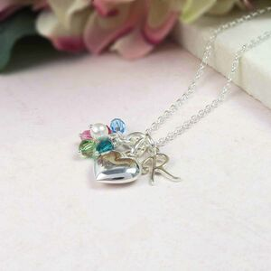 Family Birthstone And Heart Necklace Sterling Silver