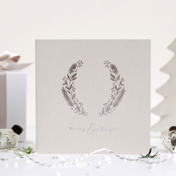 Luxury Hot Foil Grey And Silver Christmas Card