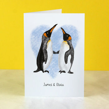 Personalised Penguin Couple Card