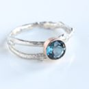 Handmade Blue Topaz Twig Ring November Birthstone