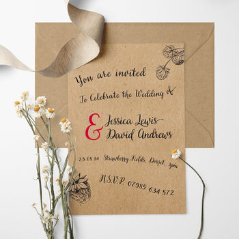 Strawberry Fields Wedding Invitation