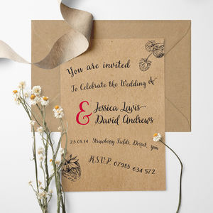 Strawberry Fields Wedding Invitation - save the date cards