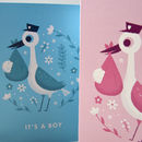 'It's A Girl' Illustrated Stork New Baby Card