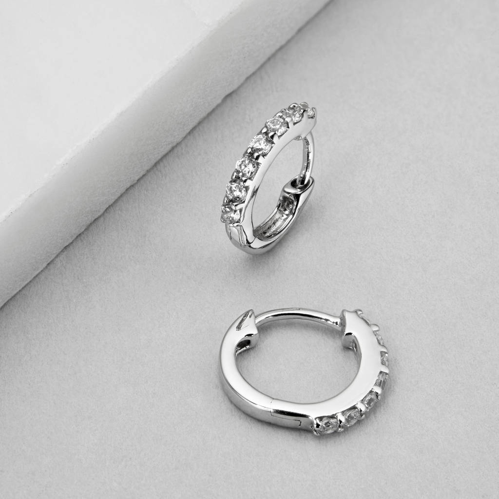 small gold or silver diamond huggie hoop earrings by lily & roo ...