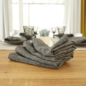 Linen Black Napkin Set Chevron - what's new