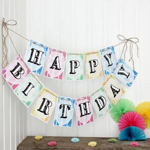 Happy Birthday Bunting, 'Happy Birthday' Bunting - bunting & garlands