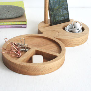 Round Interlocking Solid Oak Office Desk Tidy
