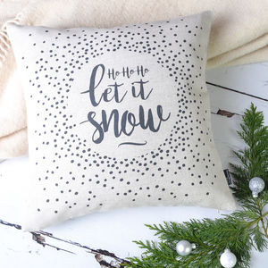 'Ho Ho Ho Let It Snow' Christmas Cushion Cover - christmas decorations