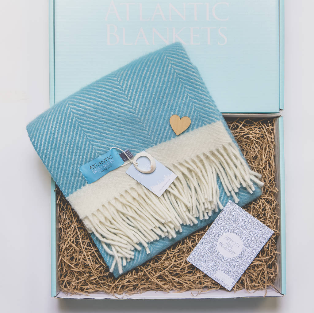Wool Wedding Anniversary Gifts: 7th Wedding Anniversary Wool Gift Set By Atlantic Blankets