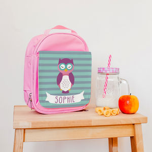Children's Personalised Insulated Owlet Lunch Bag - lunch boxes & bags