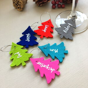 Personalised Christmas Tree Wine Glass Charms