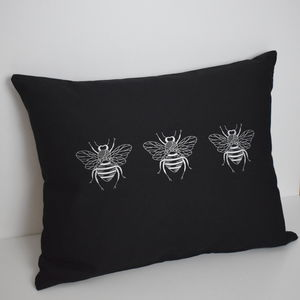 Triple Bee Rectangular Embroidered Cushion