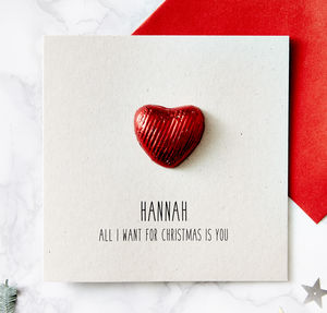 Chocolate Heart Personalised Christmas Card - what's new