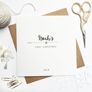 Personalised First Christmas Foiled Card - cards