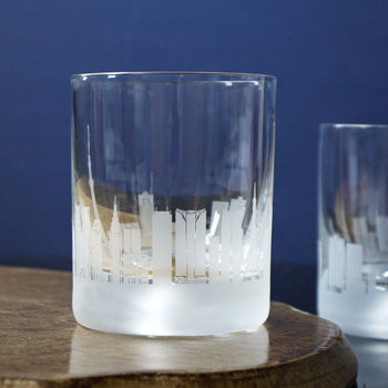 Pair Of Glass Tokyo Skyline Tumblers