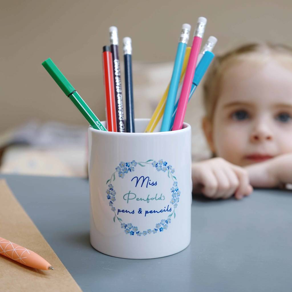 Personalised Forget Me Not Teacher Pencil Pot
