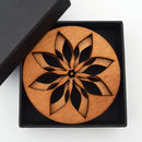 Wooden Drinks Coasters Set With Poinsettia Design