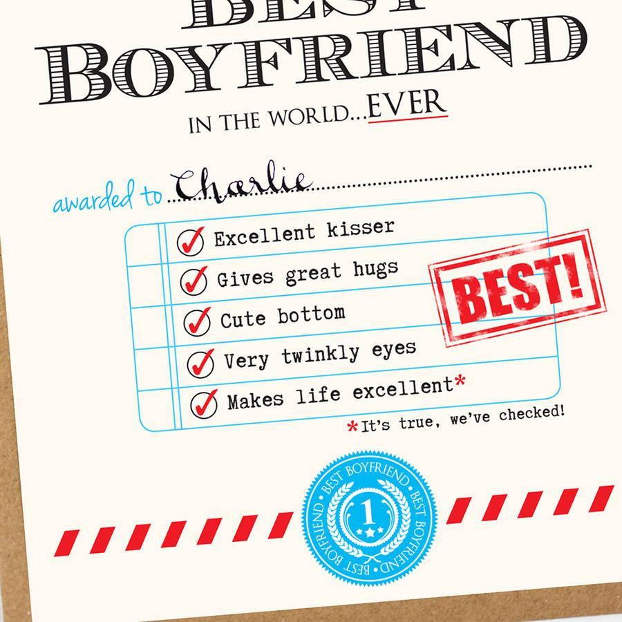 Personalised Best Boyfriend Certificate By Eskimo Kiss Designs