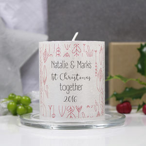 '1st Christmas Together' Couple Patterned Candle