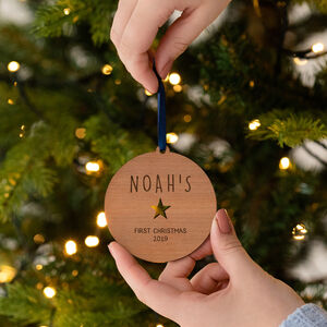 Personalised Baby's First Christmas Wooden Bauble
