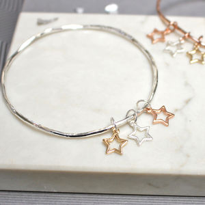 Mixed Metal Star Bangle