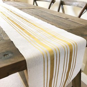 Natural Cotton Table Runner Gold Stripe 3m Roll - table runners