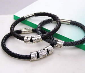 Personalised Mens Silver Scroll Bracelet - bracelets