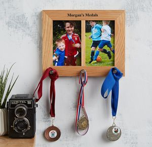 Personalised Oak Photo Frame And Medal Hanger