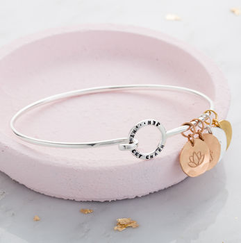Personalised Mini Circle Charm Bangle in 925 Sterling Silver with a black finish